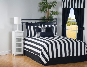 City Stripe Black White Bedspread
