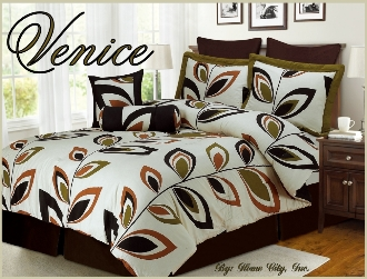 Green Dark Brown Rust 8 PC Bedding Set