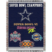 Dallas Cowboys NFL Super Bowl Commemorative Woven Tapestry Throw