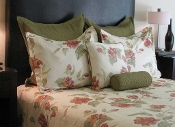 Red/Green/White Madame Butterfly Duvet Cover Bed in a Bag Set