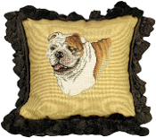 """Bull Dog"" 12""x12"" Mixed-Stitch Throw Pillow"