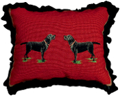 "Black Labrador 16"" x 20"" Mixed-Stitch Pillow"