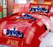 Car Racing Red Duvet Cover Sheets Set