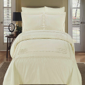 Ivory Athena Embroidered Duvet Cover Set