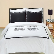 Black White Burbank Embroidered 3 PC Duvet Set