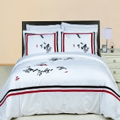 White Black Red Gray Florence 3 Piece Duvet Set