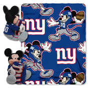 Disney/NFL Mickey Character Shaped Pillow with 40-Inch-by-50-Inch Fleece Throw Set. Mickey Includes a full team uniform and is 14 inches tall.