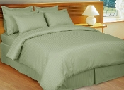 Sage Green Stripe Sateen Stripe Duvet Cover 8 PC Set
