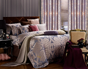 Iris Silver/Blue 6 Piece Duvet Cover Luxury Linen Bedding Set