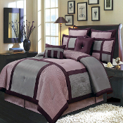 Purple Gray Morgan Luxury 12-Piece Comforter Set
