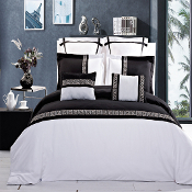 Black White Astrid Embroidered 7 Piece Duvet Cover Set