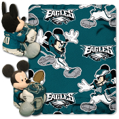 Disney/NFL Mickey Character Shaped Pillow with 40-Inch-by-50-Inch Fleece Throw Set. Mickey Includes a full team uniform and is 14 inches tall