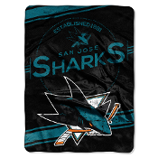 San Jose Sharks NHL Royal Plush Raschel Blanket