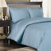 Blue Sateen Stripe 8 PC Duvet Cover Set 600 Thread count