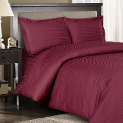 Burgundy Sateen Stripe 8 PC Duvet Cover Set 600 Thread count