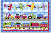 Olive Kids Trains, Planes and Trucks Printed Rug