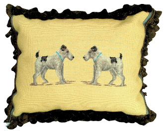 """Terrier"" 16"" x 20"" Mixed-Stitch Pillow"