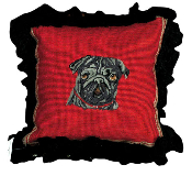 "Black Pug 12""x12"" Mixed-Stitch Throw Pillow"