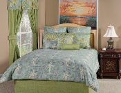 Antique map pattern in blue, accented by tropical botanical motifs and stripe patterns.