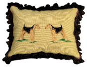 "Airedale 16"" x 20"" Mixed-Stitch Pillow"
