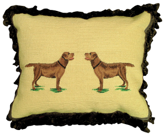 "Chocolate Labrador 16"" x 20"" Mixed-Stitch Pillow"