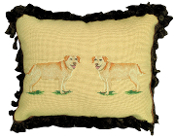 Yellow Labrador Mixed-Stitch Pillow