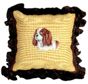 "King Charles 12""x12"" Mixed-Stitch Needlepoint  Throw Pillow"
