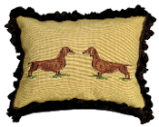 "Daschund 16"" x 20"" Mixed-Stitch Pillow"
