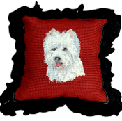 Westie Mixed-Stitch Throw Pillow