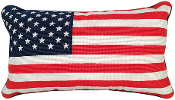 Flag Needlepoint Throw Pillow