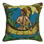 Indian in Canoe Needlepoint Pillow