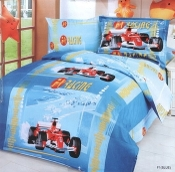 Car Racing Blue Duvet Cover Set Car