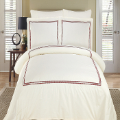 Maya Ivory & Burgundy Embroidered Duvet Cover Set