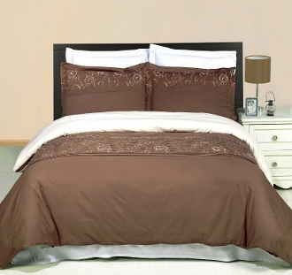 Geneva Taupe Gold Ivory Embroidered 3 Piece Duvet Set