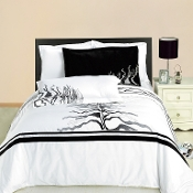 White Black Gray Huntington Embroidered 3-Piece Duvet Set