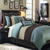 Blue Brown Ivory Hudson Luxury 8-Piece Bedding Set