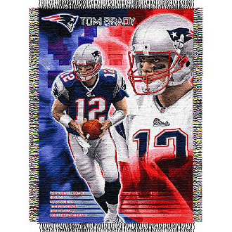 New England Patriots Tom Brady #12 NFL Woven Tapestry Throw