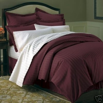 Stripe Burgundy Down Alternative Bed in A Bag