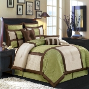 Sage Green Chocolate Ivory Morgan Luxury 8-Piece Comforter Set
