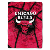 Chicago Bulls NBA Royal Plush Raschel Blanket