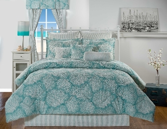 ff-white and Silver coral resting on a sea of Turquoise Crisp pinstripes on accessories add a lovely finish.