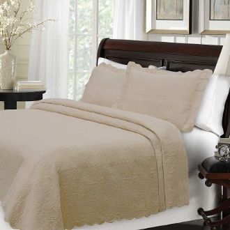 Majestic Taupe Matelasse Coverlet  .