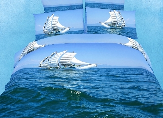Caribbean blue waves will transform your bedroom into magical marine scenery