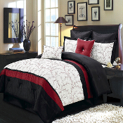 Black Red Ivory Atlantis 8 Comforter Set