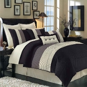 Black Hudson Olympic Queen Luxury 8-Piece Comforter Set