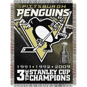Pittsburgh Penguins NHL 3X Champs Commemorative Woven Tapestry