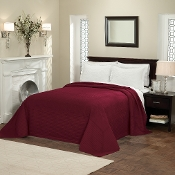 Deep Red French Tile Bedspread