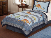 Dino Dave Kids Bedding Blue Quilt Set