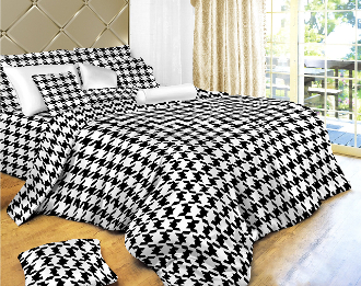 Houndstooth Check Luxury 6 Piece 100% Cotton Duvet Cover Set