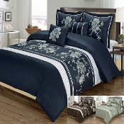 Navy Gray Chocolate Myra 5PC Duvet Cover Set